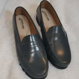 Ladies Eastland Gray Leather Penny Loafers